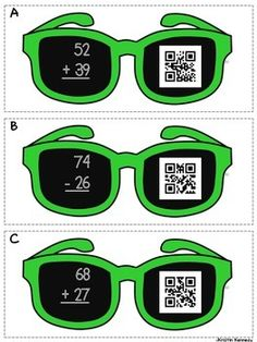 Free - Double-digit addition and subtraction problems to solve with QR codes for self-checking