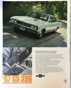 Vintage advertisement by Chevrolet for a 1967 Chevelle SS 396.
