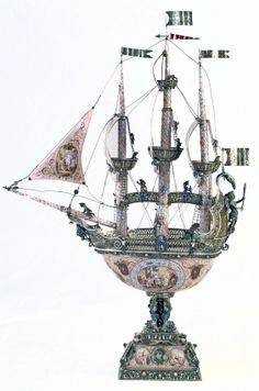 19h Century Silver, Enameled and Jeweled Nef Ship. : Lot 300