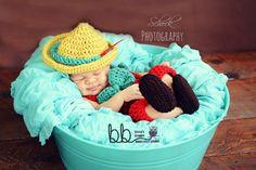 Pinocchio set Photo Prop - crochet made to order - Newborn to 6 month