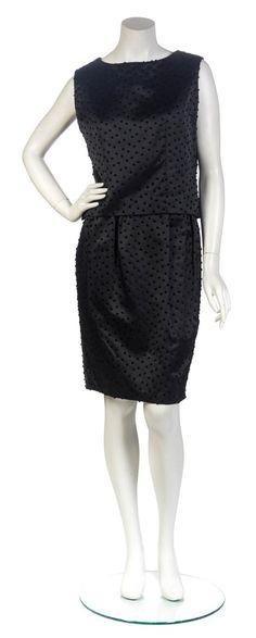 An Yves Saint Laurent for Christian Dior Couture Black Swiss Dot Dress Ense
