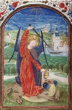 SAINT MICHAEL and SATAN.  Book of Hours, use of Paris. Amiens, c.1460.  This is the first Satan I've seen with eyes like a damselfly.