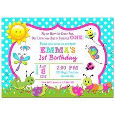 Printable girl bug birthday photo invitation girl birthday party girls bug invitation printable or printed with free shipping buggy collection filmwisefo