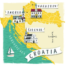 Croatia Map illustration for Metro Newspaper www.lizkay.co.uk