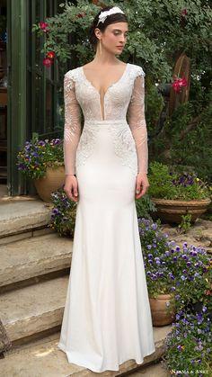 Naama Anat bridal 2017 illusion long sleeves split scoop trumpet wedding dress (pure) mv. Long sleeves wedding dress.