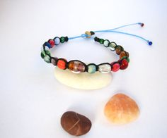 Hand Crafted Beautiful Macrame Bracelet Made With A Variety Of Colorful Glass And Stone Beads Among Many Others...