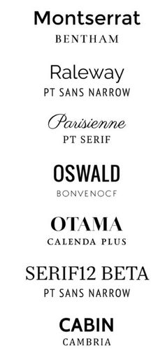 Font pairings More