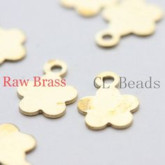 100pcs Raw Brass Filigree Charms  Flower 8.4x6.3mm by clbeads