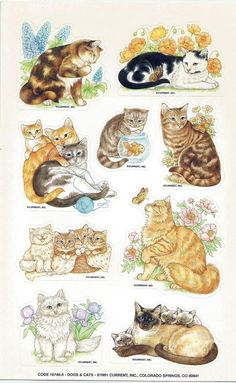 Scrapbook Stickers Vintage CURRENT 1 Large sheet 9 CATS 16746-5 A1-2 #Current #Stickers