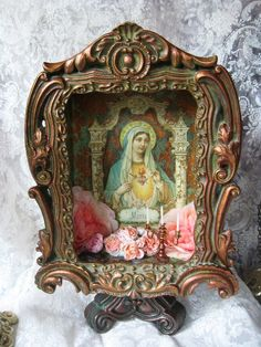 Light at the Door.  Maria/Mary framed shrine box by inthewillows