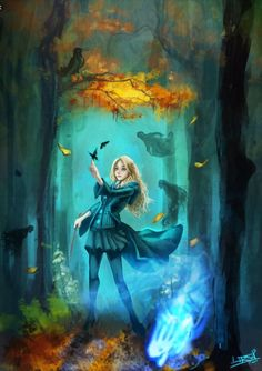 Luna in the Forbidden Forest.I love the colours in this.I have it as my lockscreen too