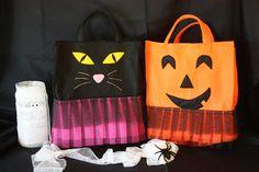 Cat and pumpkin Halloween Bags  ---  Bolsos gato y calabaza Halloween