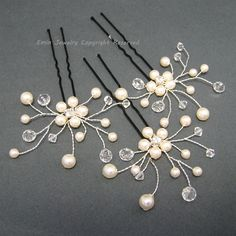 3 Bridal Hair Pin Set H024,  Ivory  Swarovski Pearls Crystal Bride Bridesmaids Wedding Hair Accessories, Bridal Hair Jewelry Head Piece. $42,00, via Etsy.