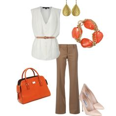 """""""Fall work outfit"""" not crazy about the color of the bag but I like the look."""