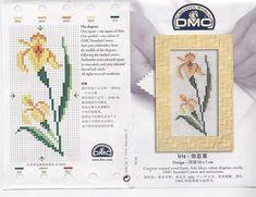 Solo Patrones Punto Cruz | Aprender manualidades es facilisimo.com Small Cross Stitch, Cross Stitch Cards, Cross Stitch Flowers, Cross Stitch Patterns, Flower Patterns, Iris, Lily, Embroidery, Knitting