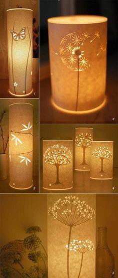 Les lampes de table en papier éclairent différents motifs et figures