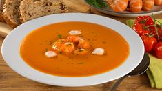 Treat the family with this indulgent prawn bisque recipe. Knorr Vegetable Stock, garlic and onion are simmered with seafood shells for full flavour, before Prawn Soup, Bisque Recipe, Vegetable Stock, Mayonnaise, Parsley, Thai Red Curry, Onion, Soups, Seafood