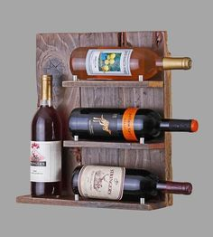 Reclaimed Wood 4-Bottle Wine Rack.