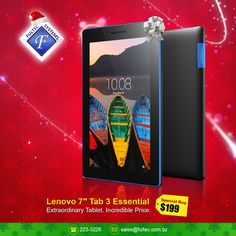 🎄Tech the Halls - Christmas Sale🎁 The Lenovo Tab 3 Essential's powerful processor with its vibrant 7-inch display and enhanced Dolby® Audio makes it fast and fun. #FultecSystems #TechtheHalls #ChristmasSale #Lenovo #LenovoTab3Essential #Tablets