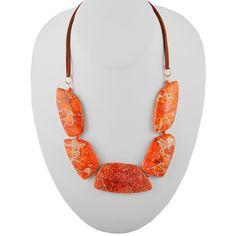 Sliced Stone Necklace-Orange Jasper