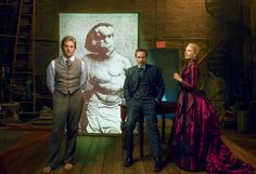 """""""I was just crushed by the plight of this guy,"""" says Bradley Cooper of first witnessing thestory of John Merrick. From left: Cooper, Alessandro Nivola, and Patricia Clarkson. - Photographed by Annie Leibovitz, Vogue, December 2014"""