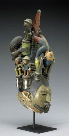 Africa | Mask from the Yoruba people of Nigeria | Wood and enamel paint #Africa #African #Yoruba