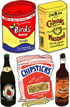 Popular English Foods.  Lea & Perrins is well known in America, and sometimes you find Birds products.