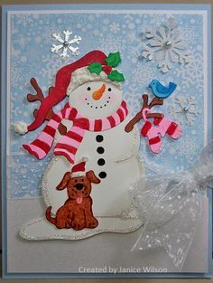 cottage cutz jolly snowman card ideas - Google Search