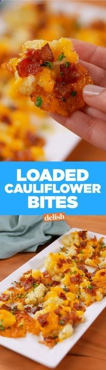 Keto: These Loaded Cauliflower Bites are the low-carb version of potato skins. Get the… – Ketogenic Diet Smashed Cauliflower, Cauliflower Bites, Cauliflower Recipes, Parmesan Cauliflower, Zuchinni Recipes, Broccoli Recipes, Low Carb Recipes, Diet Recipes, Healthy Snacks