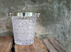 Silver Plate Tempered Crystal Glass Champagne Bucket Art Deco