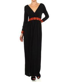 This Black Geometric Surplice Maxi Dress is perfect! #zulilyfinds