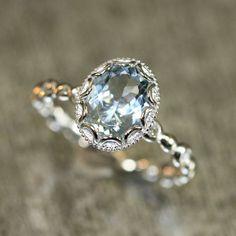 Floral Aquamarine Engagement Ring in 14k White Gold Pebble Diamond Wedding Band 9x7mm Oval Aquamarine Ring (Bridal Wedding Set Available):