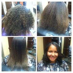 Natural curly hair, blow dry, thermal straighten and curl