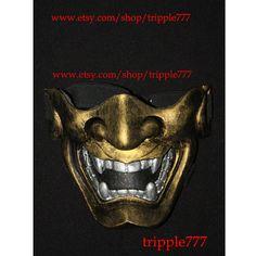 Half cover Hannya Kabuki mask, Airsoft mask, Halloween costume & Cosplay mask, Halloween mask, Steampunk mask, Wall mask, Samurai MA132