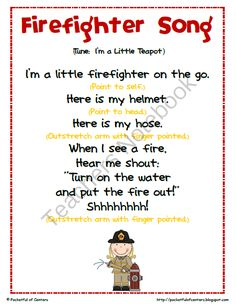 Teachers Notebook I think that this is a good nursery rhyme because of the hand movements you have to do Preschool Music, Preschool Class, Preschool Lessons, Preschool Learning, Teaching, Preschool Fire Safety, Circle Time Ideas For Preschool, Preschool Fingerplays, Fire Safety Crafts