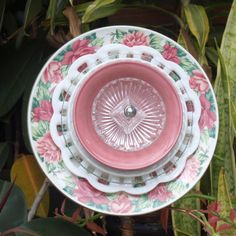 pink cabbage roses Vintage Repurpose Glass Plate by ARTfulSalvage, $43.00
