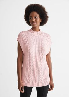 Oversized Cable Knit Vest - Pink - Vests - & Other Stories GB