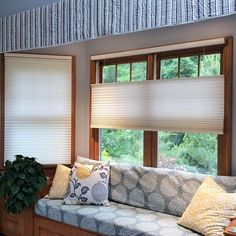 This window seat looks fabulous with these Top Down Bottom Up Cellular Shades Cellular Blinds, Cellular Shades, Boat Blinds, Blinds For Windows, Window Coverings, Window Treatments, Budget Blinds, Shades Blinds, Custom Windows
