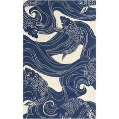 Buy the Surya Blue Direct. Shop for the Surya Blue Rain x Rectangle Polypropylene Hand Hooked Contemporary Outdoor Area Rug and save. Design Textile, Design Floral, Koi, Coastal Area Rugs, Art Chinois, 4 Wallpaper, Art Japonais, Fish Design, Pond Design