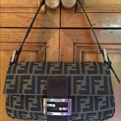 Vintage Fendi Zucca Baguette Authentic Fendi Brown and black woven Zucca Baguette with silver-tone hardware, brown leather trim, adjustable leather shoulder strap, tonal stitching throughout, logo at front, brown woven lining, zip closure pocket at interior wall and snap closure at top. Gently used,minor scuffs on leather trim and light scratches on hardware. Bag only FENDI Bags