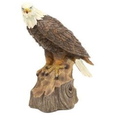 Free Shipping! Perched Bald Eagle - Carved Wood Look