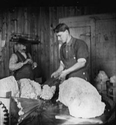 Cheesemaker at work, Mineral Point, Wisconsin. Mineral Point Historical Society.