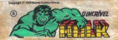 O Incrível Hulk - Essa é uma coleção de 36 figurinhas dos Super-Heróis da Marvel, do chiclete Ping-Pong, lançadas em 1979, as quais colecionei todas e colei na cômoda do quarto, como todo mundo fez.