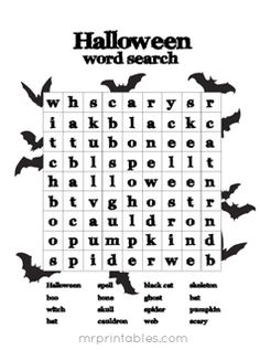 Pinned for the word search but there are other Halloween themed word sheets and some mazes