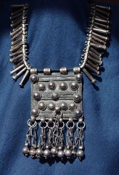 Africa | Typical Ethiopian mergaf, with fertility beads | Silver, usually coin silver | ©Betty, via Ethnic Jewels