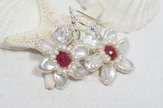 Beadwork Earrings Pearl Earrings Wire Wrapped Gemstone Earrings Birthstone Jewelry Flower Earrings