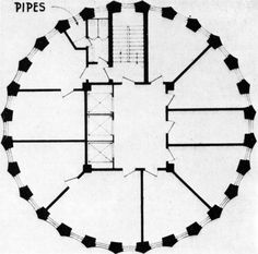 Pipes. Plan of Loos' columnar entry in the Chicago Tribune competition. via http://wherearchitectureisfun.tumblr.com/