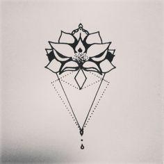 My next tattoo ☆★☆ mady by myself #sternum #flower #geometric #black #newstyle #lotus #triangle