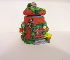 Fairy House Trinket Jar by DawnsClayFantasy on Etsy
