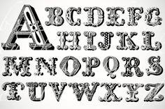 victorian woodcut alphabet font digital collage by boxesbybrkr, $3.00